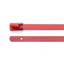 Red Polyester Coated 316 Stainless Steel Cable Ties